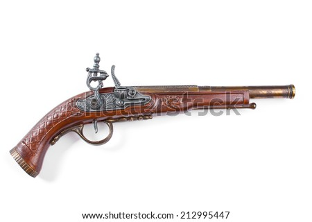 Old wooden gun, upper side, selective focus, on white background.