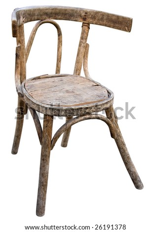 Old wooden hand-made chair isolated on white. Includes clipping path