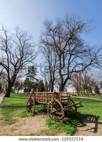 Old wooden horse Carriage in the garden - stock photo