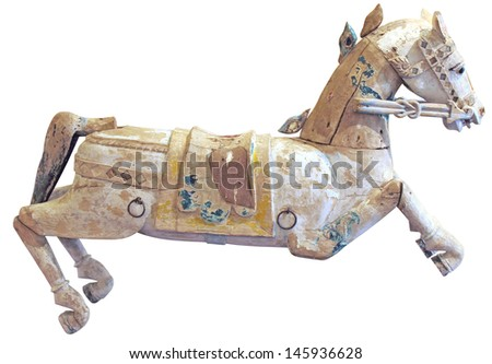 Old wooden horse isolated on white background  - stock photo