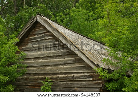 old wooden house in the woods - stock photo