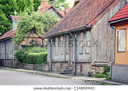 old wooden house in town