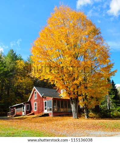old wooden house in Vermont, USA - stock photo