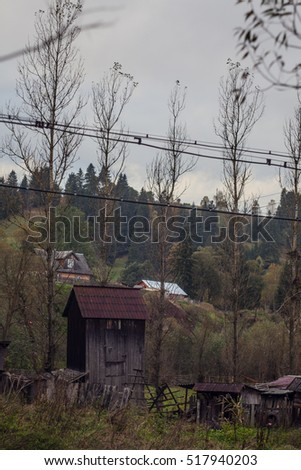 Old wooden house in village in Carpathian mountains, Vorohta area,  Ukraine