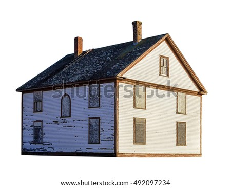 Old wooden house isolated on white