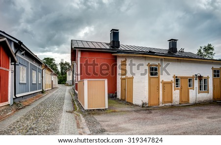 Old wooden houses in Rauma on a summer day