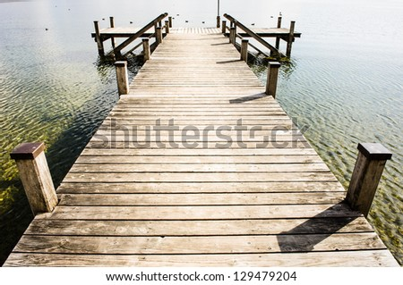 old wooden jetty at a lake