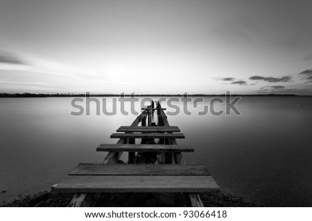 Old Wooden Jetty, Cleveland - stock photo