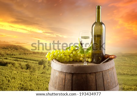 Old wooden keg with bottle and glass of white wine. Rural vineyard on background