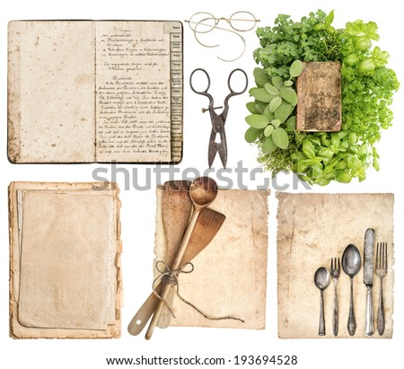 Old wooden kitchen utensils, antique cookbook, aged paper pages and herbs isolated on white background. Grandma's recipes book concept - stock photo