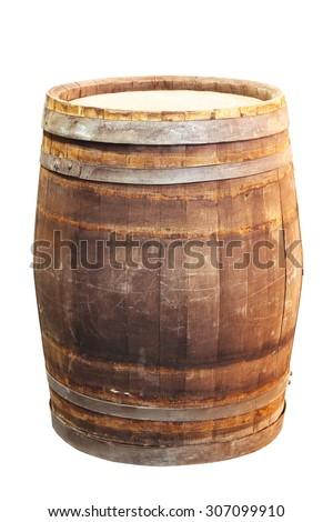 Old wooden oak barrel isolated on white background - stock photo