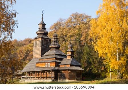 Old wooden orthodox church on  Ukraine - stock photo