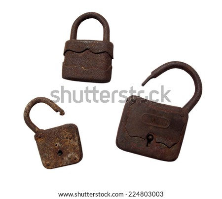 Old wooden padlocks on white background