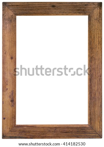 Old Wooden Picture Frame Cutout - stock photo