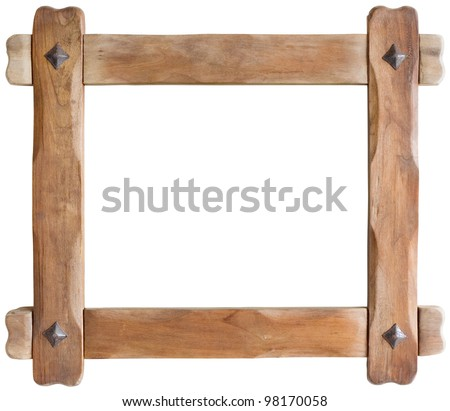 Old Wooden Picture Frame Cutout with clipping path - stock photo