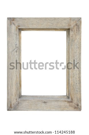 Old wooden picture frame isolated on white background. - stock photo