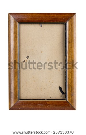 old wooden picture frame with vintage matte, isolated on white