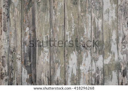 Old wooden planks with cracked color Paint - stock photo