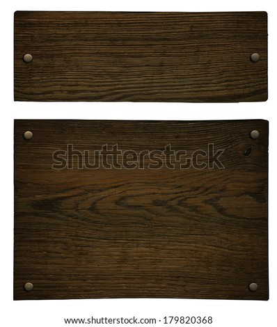 Old wooden plate (clipping path) - stock photo