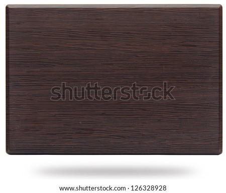 old wooden plate isolated on white - stock photo