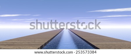 Old wooden pontoons leading to same direction to the horizon upon water by blue day - stock photo