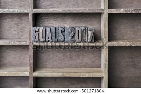 old wooden printers type forming the word Goals 2017