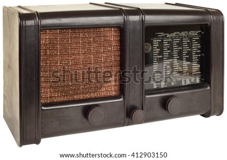Old Wooden Radio Isolated with Clipping Path - stock photo