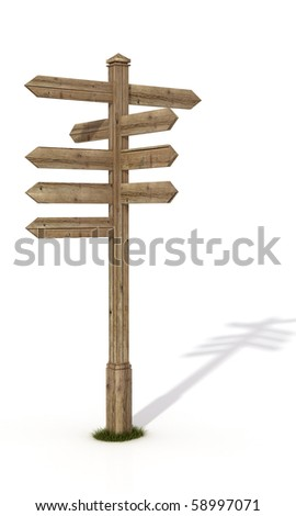 old wooden road sign post isolated on white - rendering - stock photo
