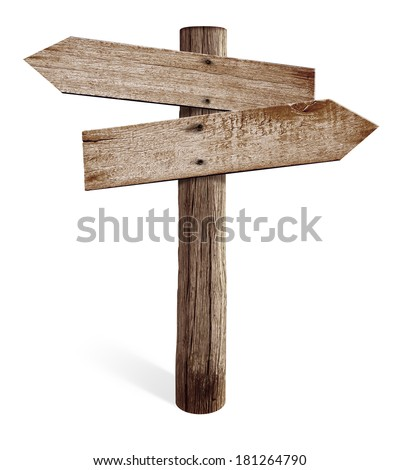 Old wooden road sign with left and right arrows isolated - stock photo