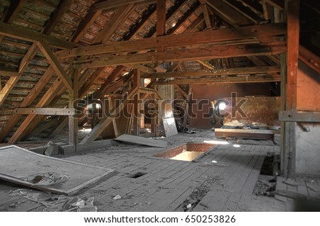 attic roof reinforcement old wooden roof beams on damaged stock photo 650253826 shutterstock