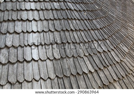 Old wooden roof of the fortress Kamenetz-Podolsk, Ukraine - stock photo