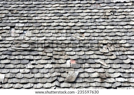 Old wooden roof tile of old house  - stock photo