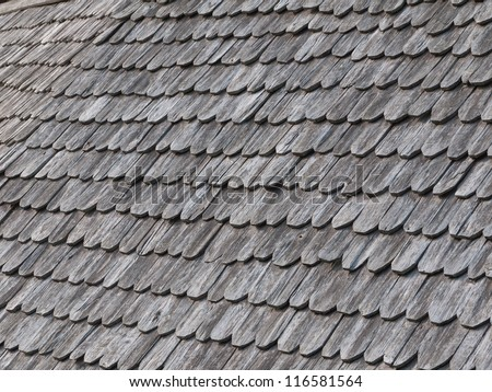 Old wooden roof tiles from north of Thailand - stock photo