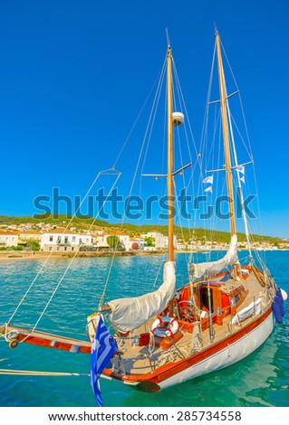 old wooden sailing boat in Spetses island in Greece