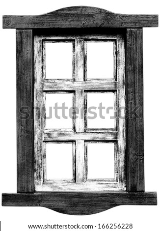 Old wooden saloon window isolated on white background. - stock photo