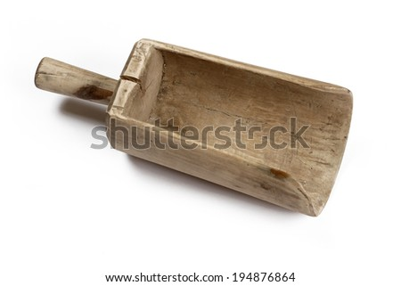 Old wooden scoop isolated on white background.