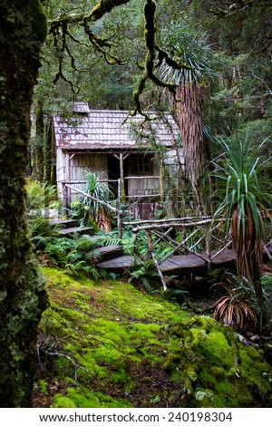Old wooden shack deep in the forest. - stock photo