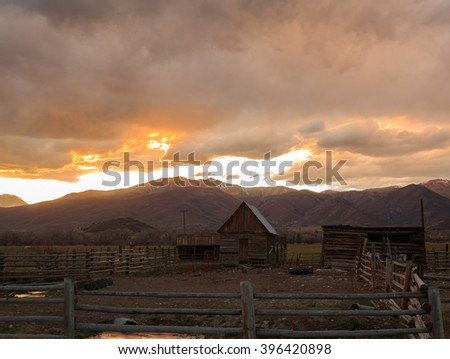 Old wooden shed on a farm in rural Utah, USA. - stock photo