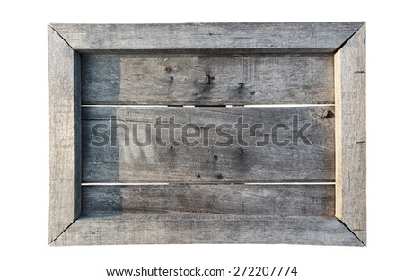 Old wooden shield (menu board) isolated on white background - stock photo
