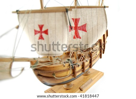 Old wooden ship - miniature - stock photo