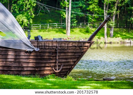 old wooden ship of cafe - stock photo