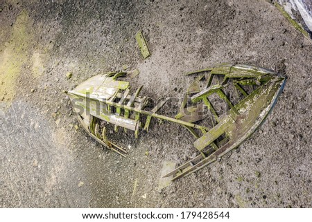 old wooden ship wreck at the ground of the lagoon - stock photo