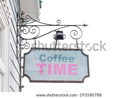 Old wooden sign and text on coffee concept. - stock photo
