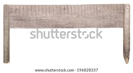 old wooden sign board isolated on white