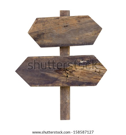 Old  wooden sign isolated on  white background.