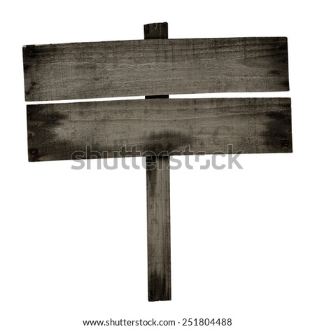 Old wooden sign isolated on white. Wood old planks sign. - stock photo