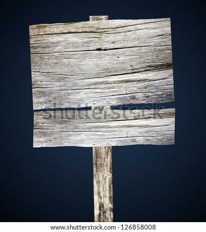 Old wooden signboard  blue background - stock photo