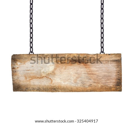 Old wooden signs hanging on a chain isolated on white