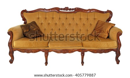 Old wooden sofa isolated on white background