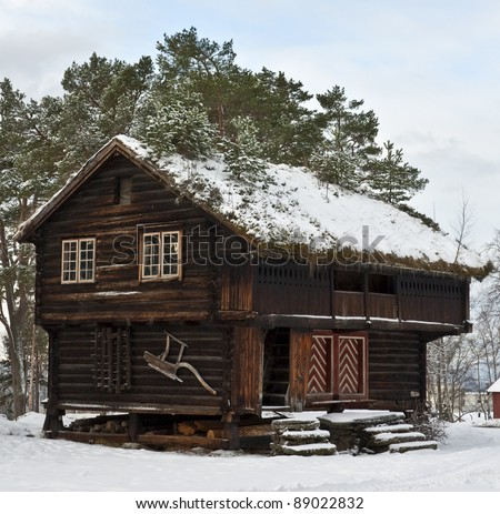 "Old wooden ""stabbur""; combined storage and living quarters - stock photo"